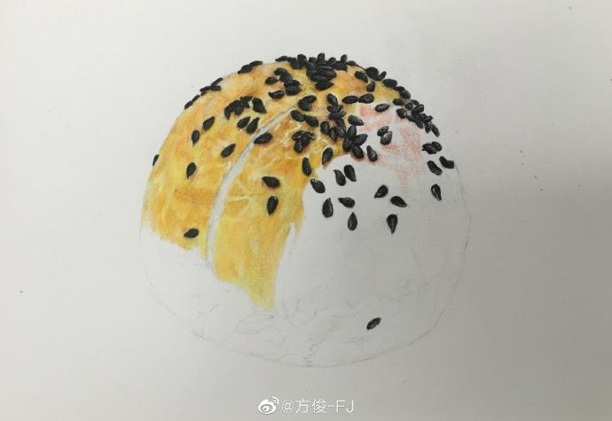 蛋黄酥表皮涂色,注意表皮的纹理