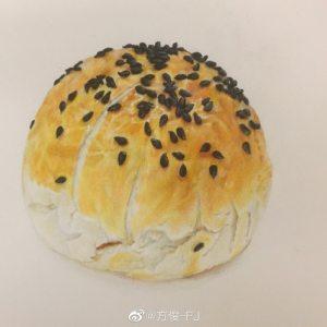 蛋黄酥面包彩铅步骤图
