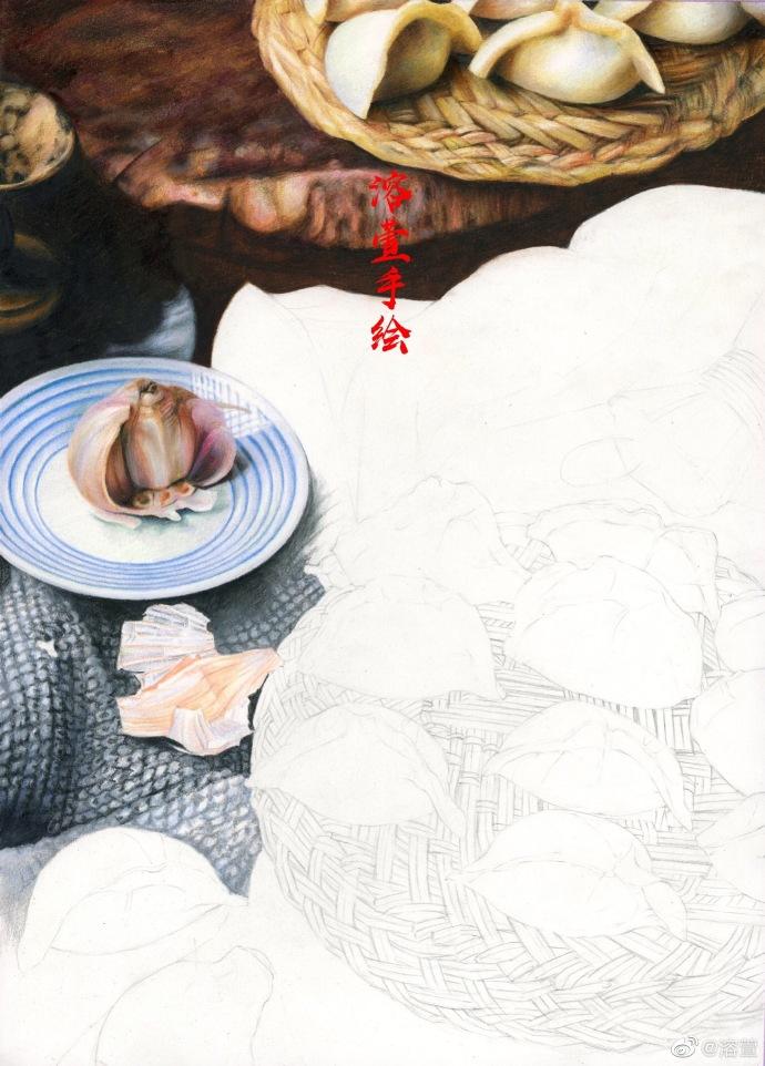 冬至饺子彩铅起稿